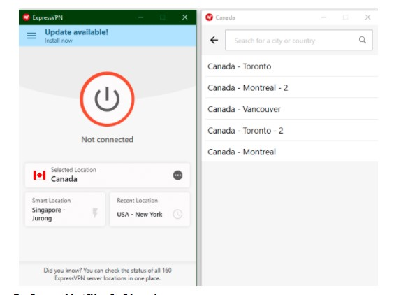 Connect to a Canadian Server
