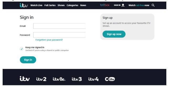 go ITV's official website